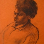 CJA portrait study 267 (on red paper)
