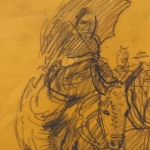 CJA figure study 60 (rider on donkey 10X7 inches)