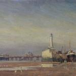 CJA146 Low tide at Margate, oil, 16 X 26 cm, 1950s